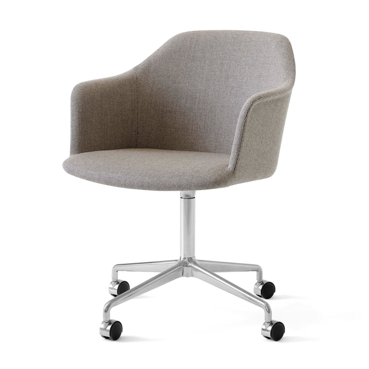 Rely HW50 Armchair with castors, polished aluminium / Kvadrat Re-Wool 218 from & tradition
