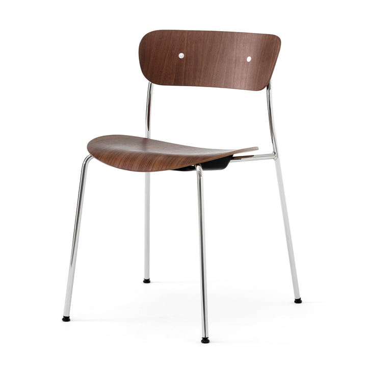 & Tradition - Pavilion Chair, frame chrome / walnut lacquered