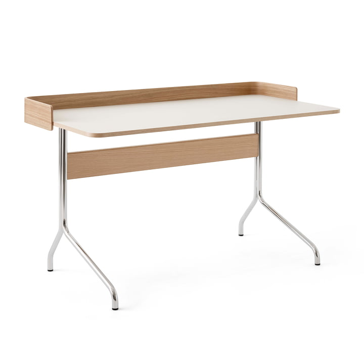 Pavilion AV17 Desk with border, 130 x 65 cm, oak / linoleum Mushroom (4176) from & tradition