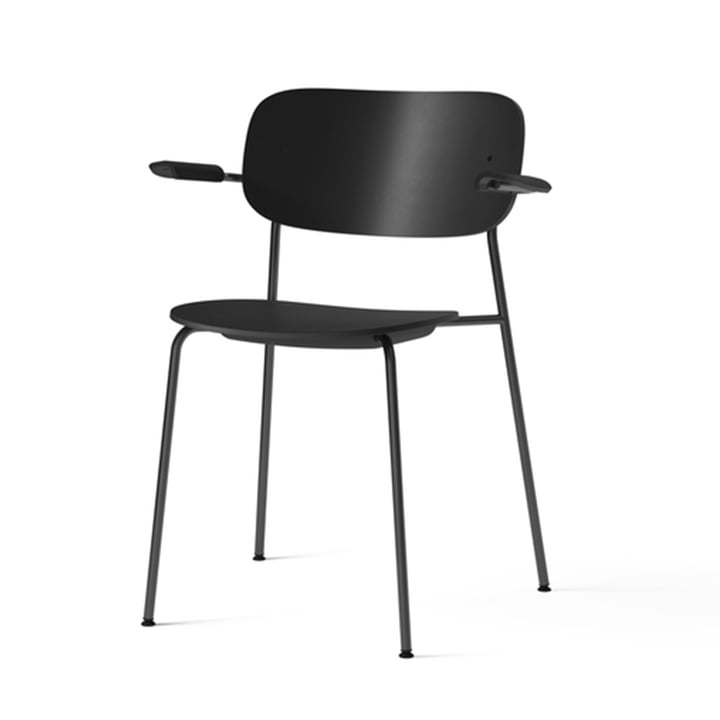 Co Dining Recycled Plastic Chair with armrests, black by Menu