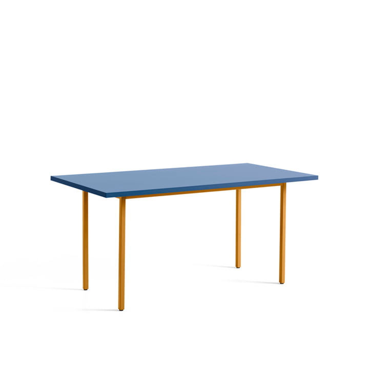 Two-Colour Dining table from Hay in the dimensions 160 x 82 cm in the colour blue / ochre