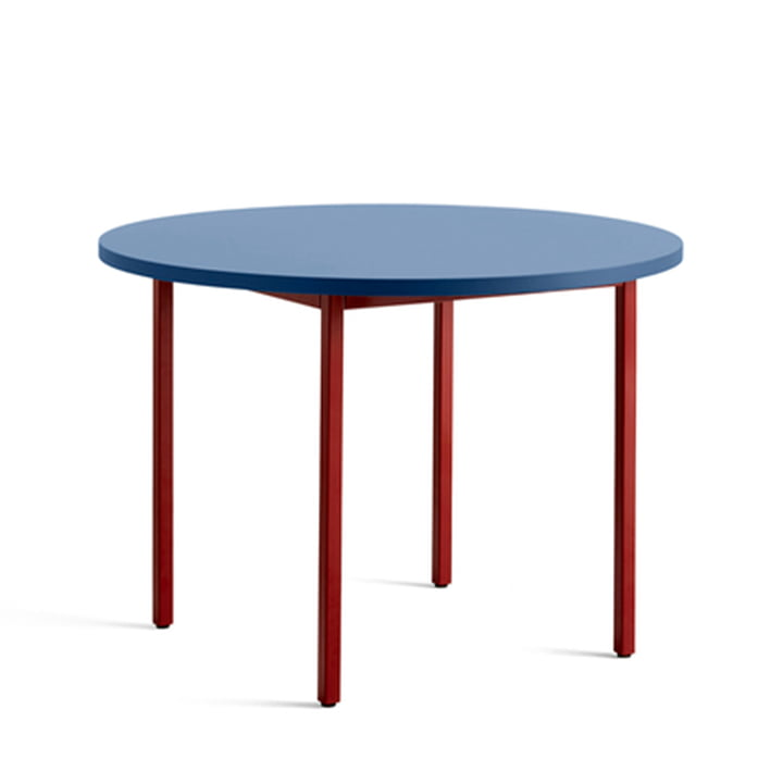 Two-Colour Dining table Ø 105 cm from Hay in round design in the colour blue / dark red
