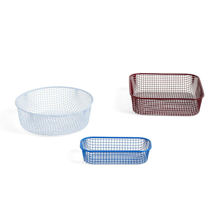 Trinkets Baskets from Hay in a set of 3 in the colour combination blue, light blue, dark red