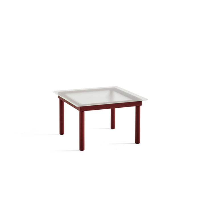 Kofi Coffee table with glass top by Hay in the dimensions 60 x 60 cm in the colour dark red / clear with ribbed optics
