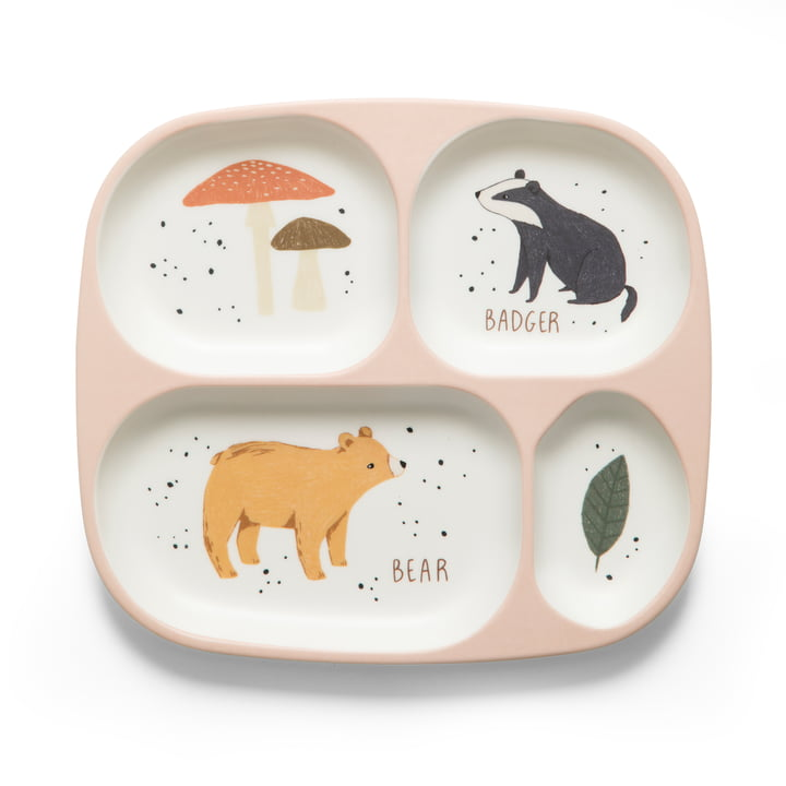 Nightfall Menu plate with 4 compartments from Sebra in dreamy rose