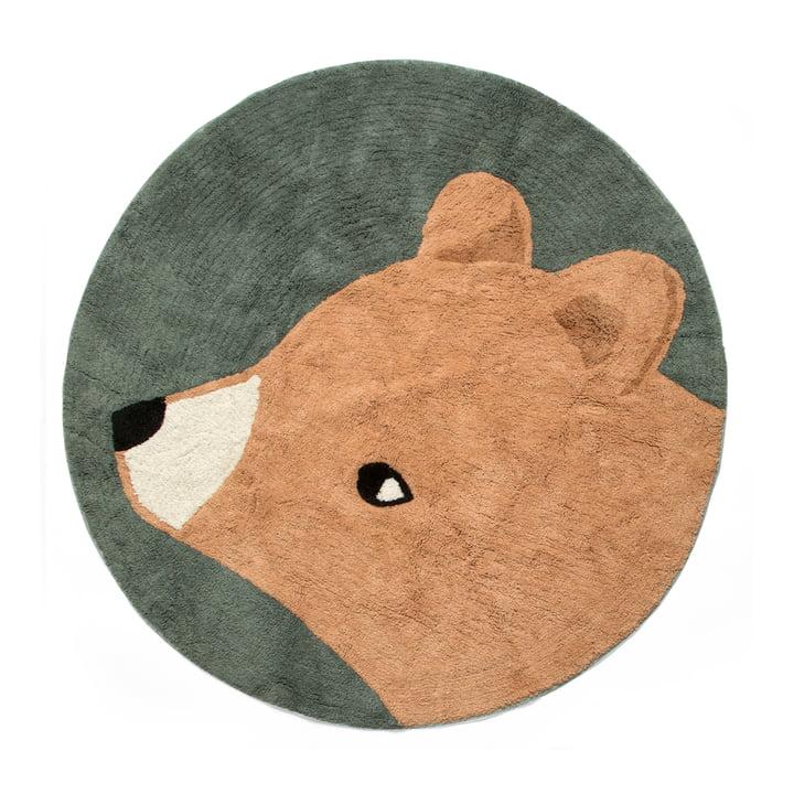 Kids carpet Ø 120 cm bear from Sebra in midnight green