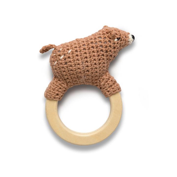 Crochet rattle bear from Sebra in brown