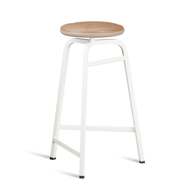 Treble Bar stool from Northern in the version white / leather brown