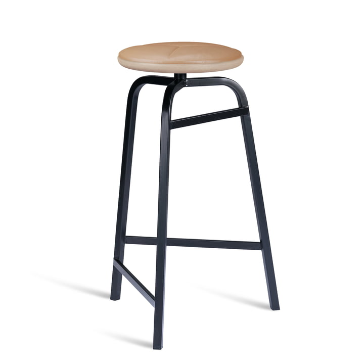 Treble Bar stool from Northern in the version black / leather brown