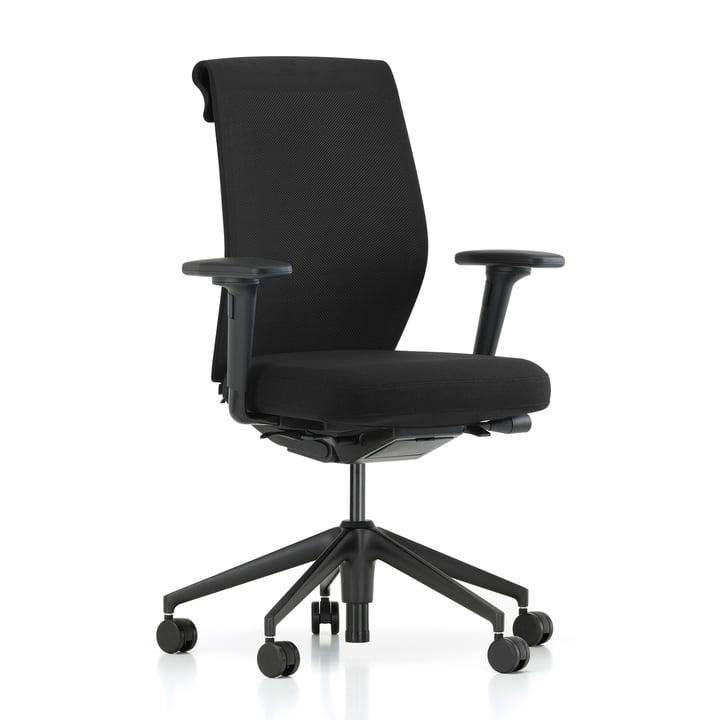 ID Cloud, nero / basic dark, with forward tilt, with seat depth adjustment, 2D armrest (soft castors) from Vitra