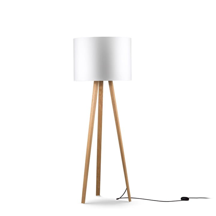 LUCA STAND Floor lamp from Maigrau in natural oak in white