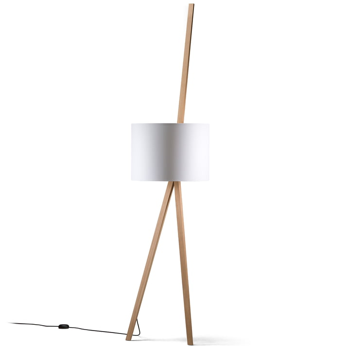 LUCA LEAN Leaning lamp from Maigrau in natural oak in white
