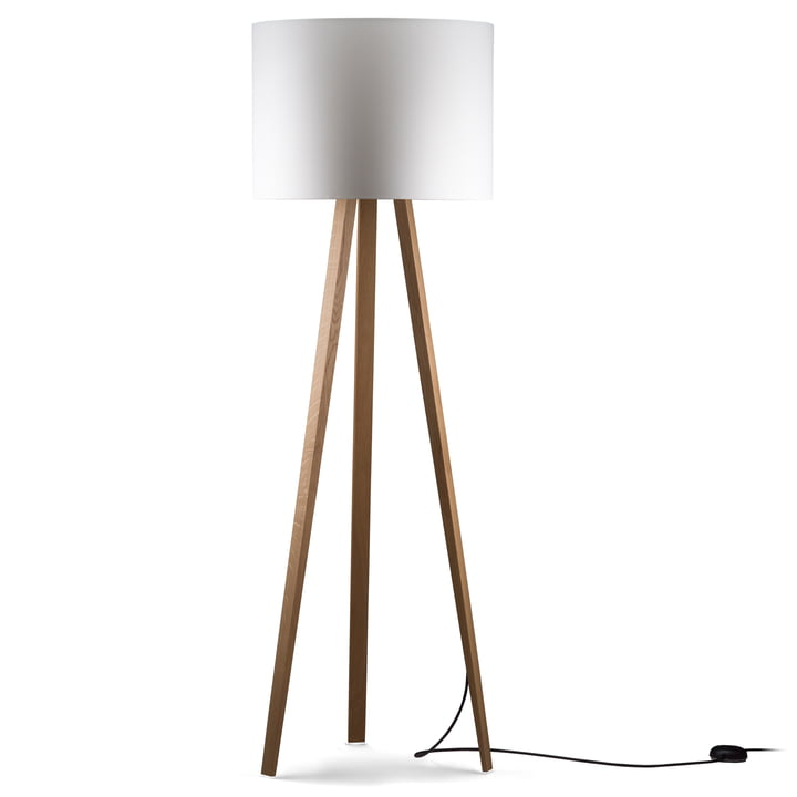 Luca Stand High Floor lamp from Maigrau in natural oak in white