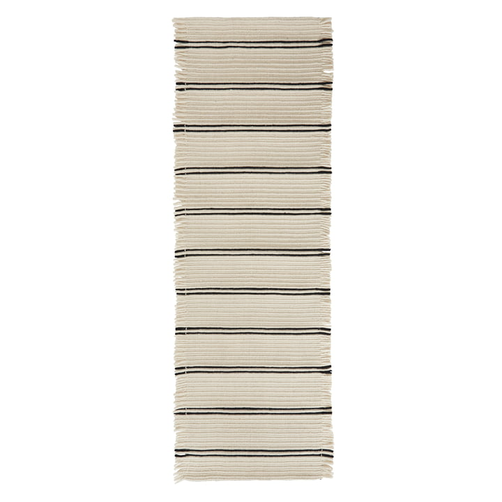 Putki Carpet 250 x 73 cm from OYOY in offwhite / black