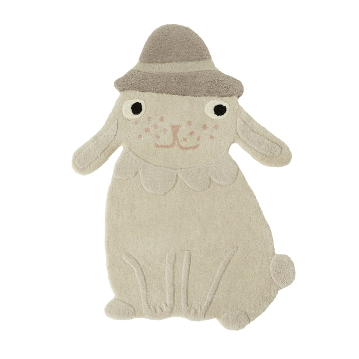 Hopsi bunny children's rug from OYOY in offwhite