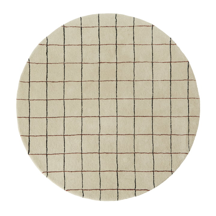 Grid Carpet Ø 140 cm from OYOY in offwhite