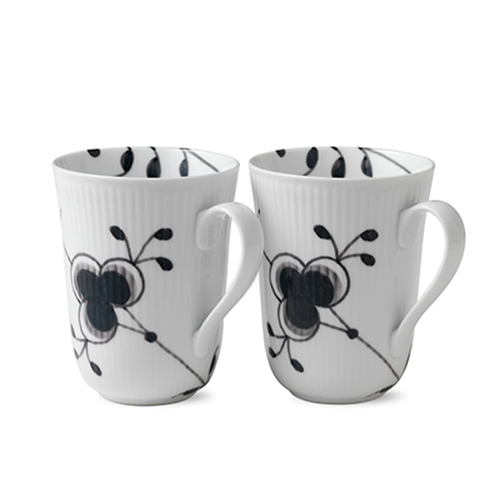 Mega Black Ribbed Mug 33 cl (Set of 2) from Royal Copenhagen