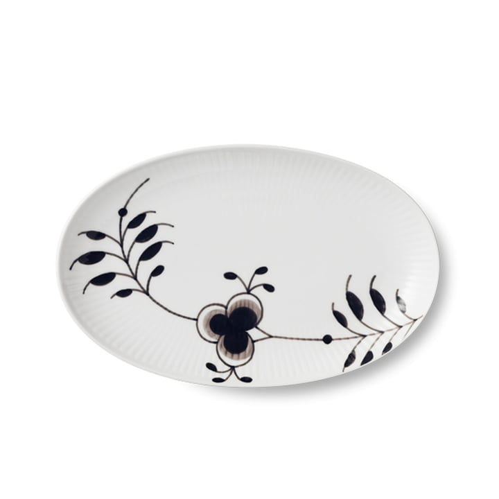 Oval serving dish from the Black Fluted Mega series