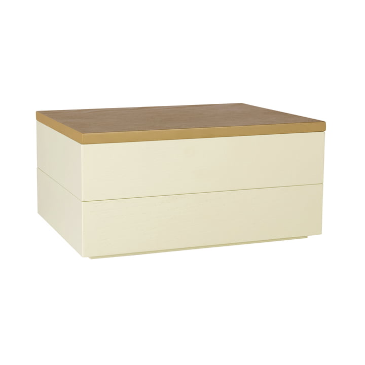 Storage box with lid, light brown / yellow from Hübsch Interior