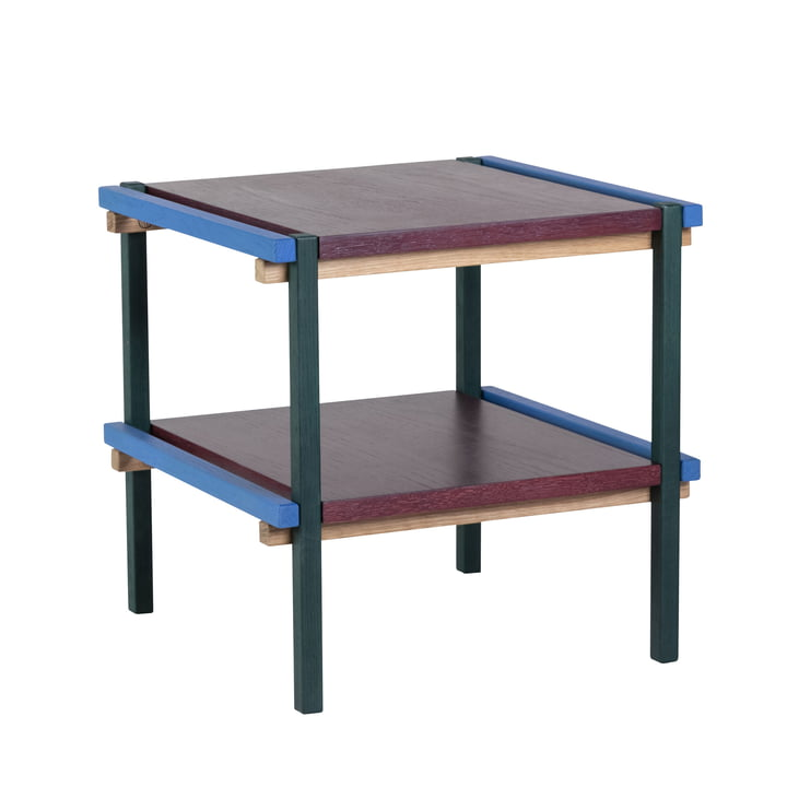 Side table with 2 levels, blue / burgundy by Hübsch Interior