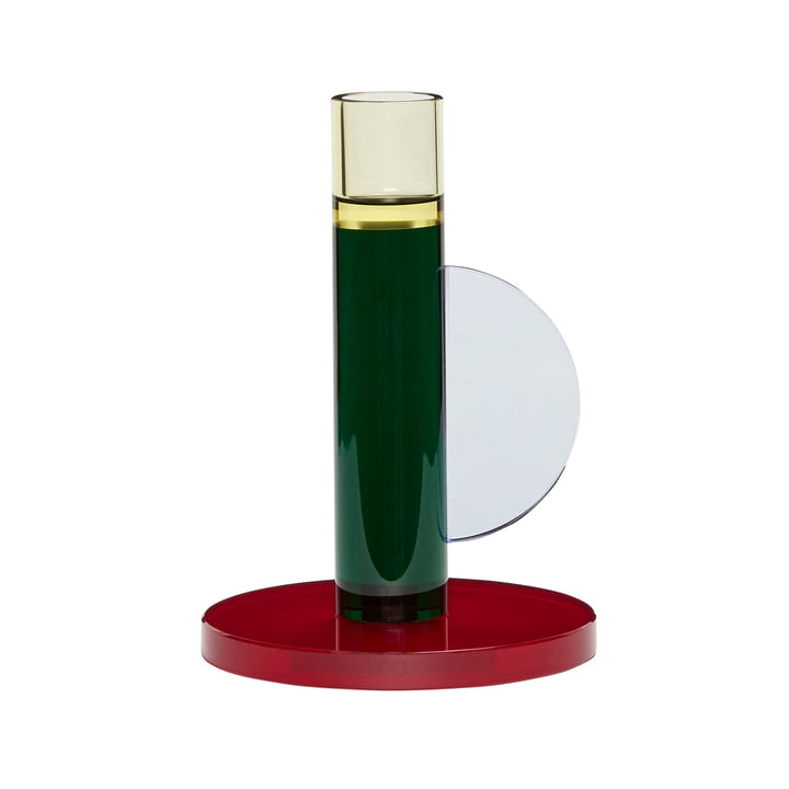 Crystal candle holder, dark red / green from Hübsch Interior