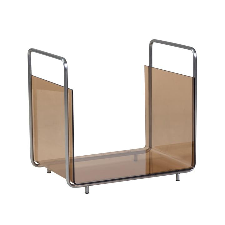 Magazine rack, nickel / amber by Hübsch Interior