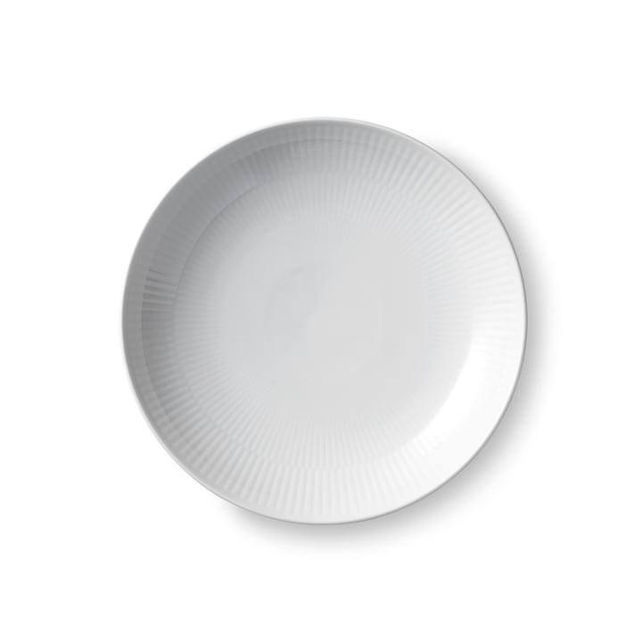 White ribbed modern plate flat Ø 25 cm from Royal Copenhagen