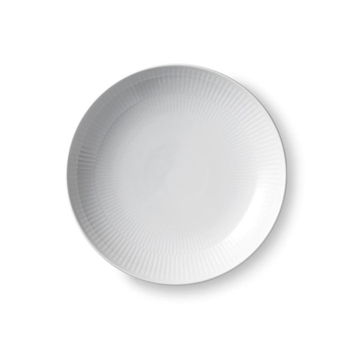 White Ribbed modern Breakfast plate flat Ø 20 cm by Royal Copenhagen