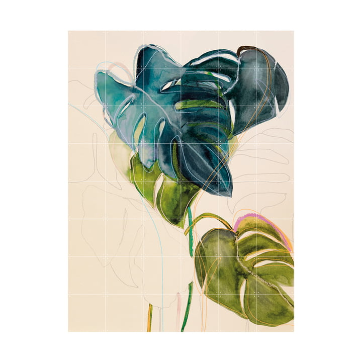 Blue Monstera Mural 120 x 160 cm from IXXI