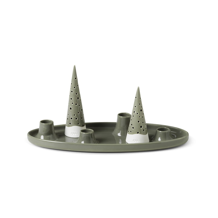 Nobili Advent candle holder by Kähler Design in the colour olive green
