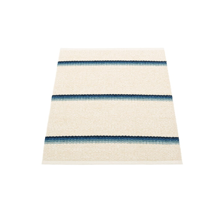 Olle Carpet, 70 x 90 cm by Pappelina in blue / vanilla