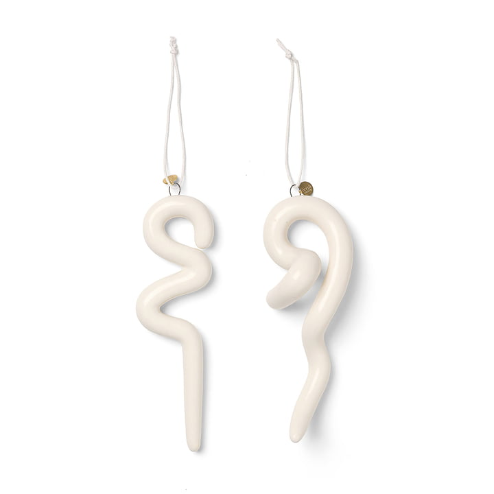Doodle Ornaments Christmas tree decorations by ferm Living in off white (set of 2)