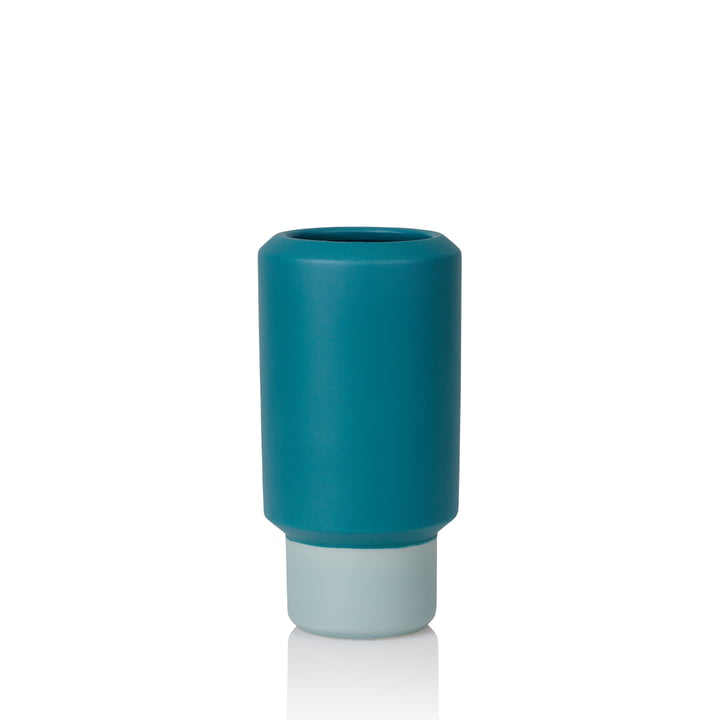 Fumario Vase H 16,5 cm from Lucie Kaas in petroleum blue / mint green