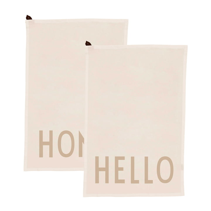 Favourite Tea towel in Hello / Home, off-white (set of 2) from Design Letters