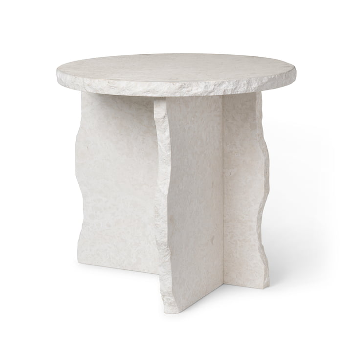 Mineral Marble sculpture table by ferm Living in the version Bianco Curia