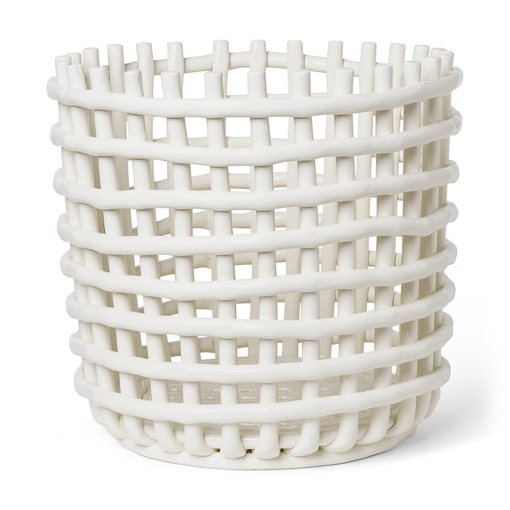 Ceramic basket XL by ferm Living in the color off-white