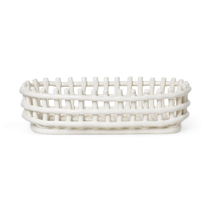 Ceramic basket oval by ferm Living in the color off-white