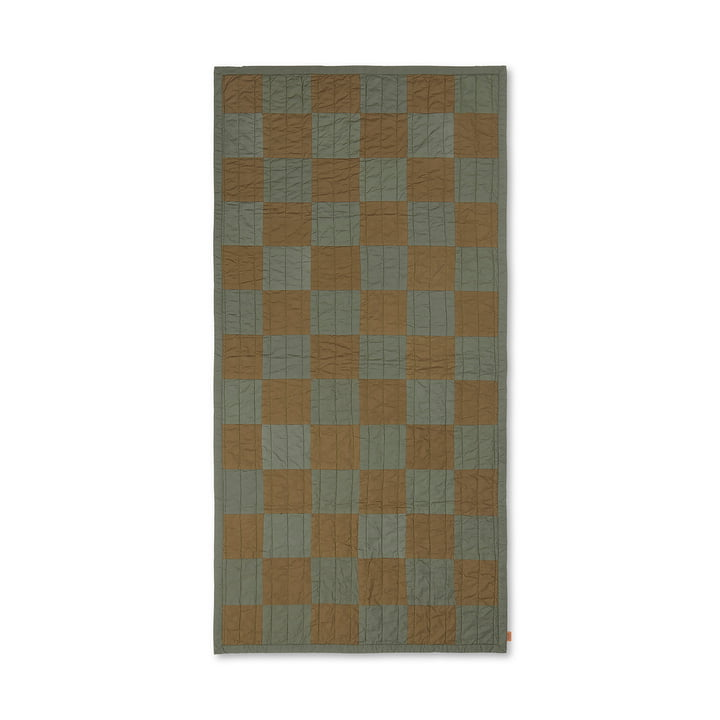 Duo Quilt by ferm Living in color green / brown
