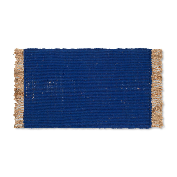 Block Doormat by ferm Living in color blue