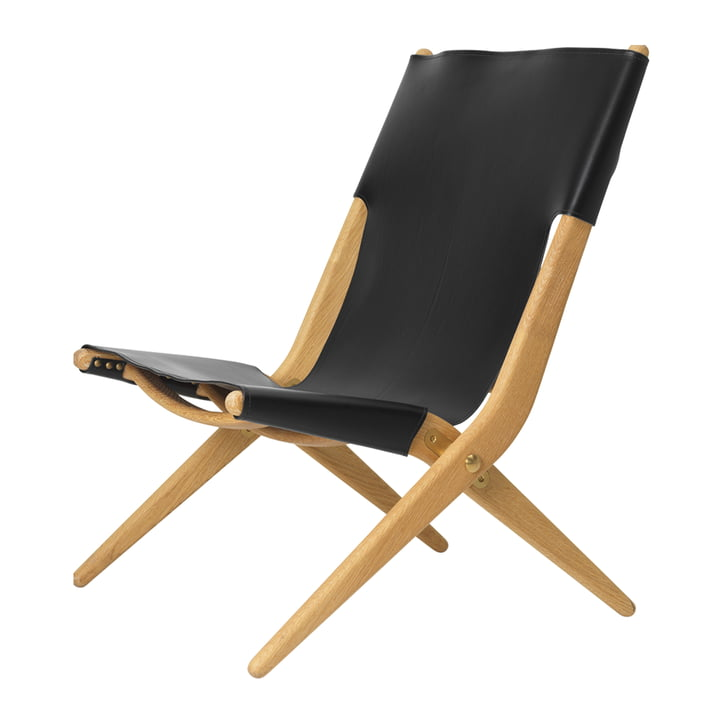 Saxe Folding armchair from by Lassen in the oiled oak / black leather version