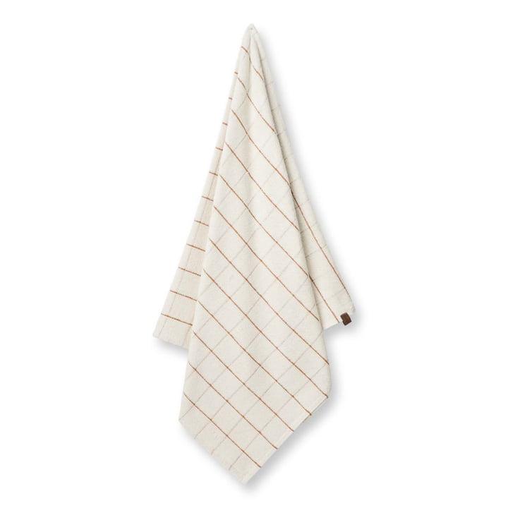 Checkered bath towel, 60 x 130 cm by Humdakin in shell / brown sugar