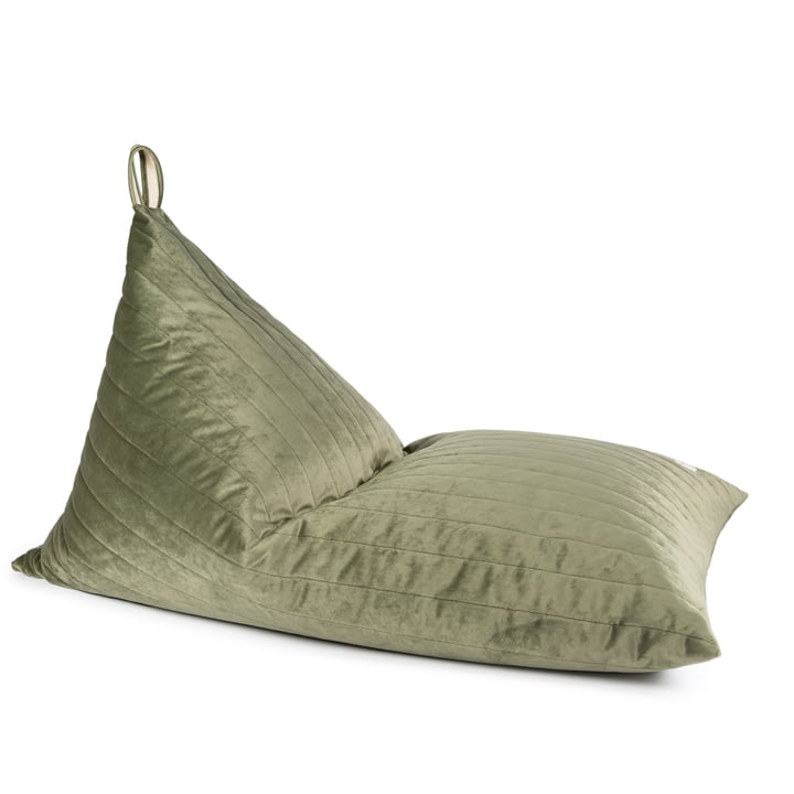 Essaouira Beanbag velvet from Nobodinoz in the version gold bubble / olive green