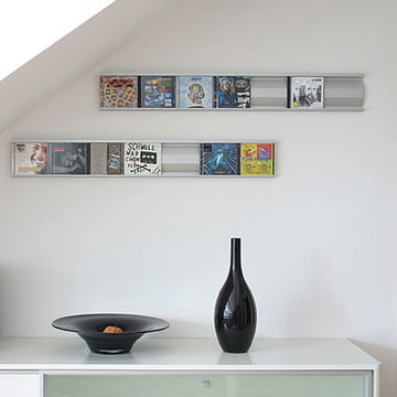 Perfect addition to design furniture: Sigmarail Aluminium CD Shelving System (SR7)