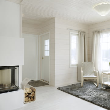 Artek Kanto Magazine and firewood rack, white, ambiance