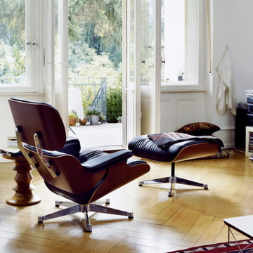 Vitra Lounge Chair & Ottoman, cherry wood
