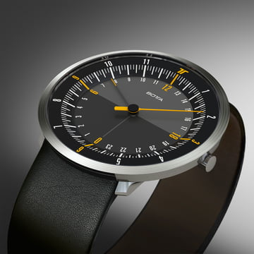 Botta Design - Duo 24 Watch, black / leather strap