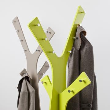 Cascando - Tree Stand Wardrobe, grey, green - closeup, jackets