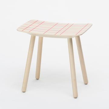 Karimoku - Stool color, red grid pattern