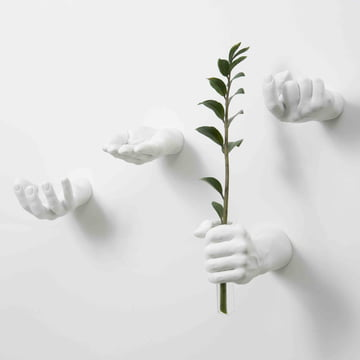 White Hand Hooks in white by Areaware