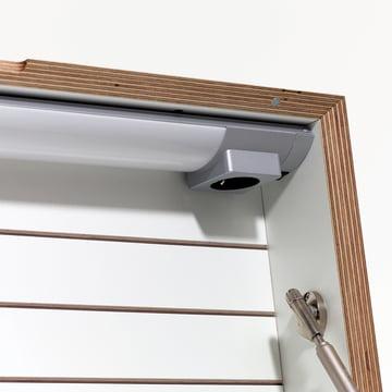 Müller Möbelwerkstätten - Flatbox, white - details, lamp